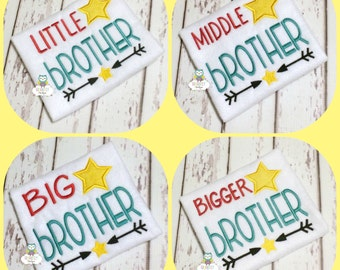 Sibling Shirts, Brother Shirts, Baby Brother, Big Brother, Little Brother, Middle Brother, Bigger Brother, Pregnancy Announcement Shirts