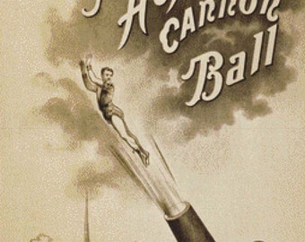 Vintage Human Cannon Ball Poster PDF Cross Stitch Pattern