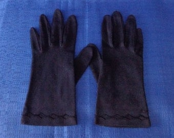 Ladies Black Fownes Embraceable Nylon Gloves,Vintage Black Evening Gloves