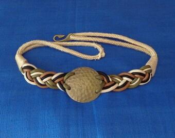 Ladies Vintage Braided Belt,Braided Elastic Belt,Hammered Bronze Buckle Braided Belt