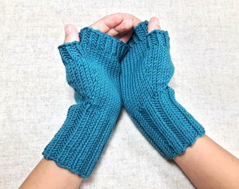 Fingerless Gloves for kids and teens, emerald, arm warmers, mittens wool merino