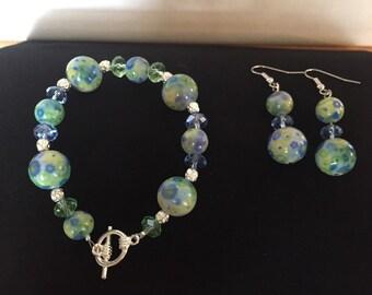 Green and Blue Floral bracelet & earring set