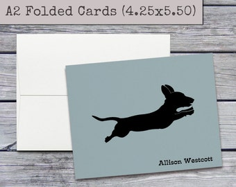 Personalized Stationery Set - Dachshund Stationary - Custom Notecards - Personalized Notecards Set - Custom Gift - A2 Folded Note Cards
