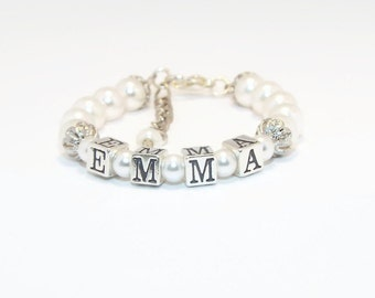 Baby Bracelet, Baby Jewelry, Baby Name Bracelet, Baptism Bracelet, Baby Girl Jewelry, Christening Bracelet, Baby Shower Gift(B33)