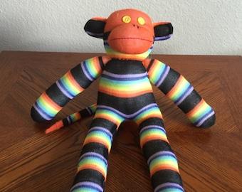 Handcrafted Medium Sock Monkey - Black and Orange Stripes