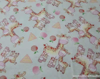 Flannel Fabric - Happy Giraffes Lime - 1 yard - 100% Cotton Flannel