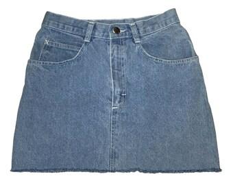 Vintage 1990s 90s SHADES High Waisted Grey Blue Denim Cut Off Mini Jean Skirt