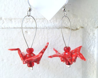 Bright red origami cranes earrings made out of chiyogami japenese paper. red and silver polka dot, light weight jewel, paper birds