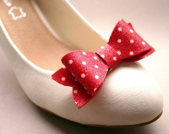 Bow glitter- shoe clips with Polka Dots, red & white, bows, rockabilly, rockabella, vintage, dotted, red with white dots, glittery, cherry