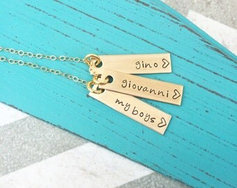 Personalized Mother's Necklace - Hand Stamped Mothers Necklace - Custom Necklace - Hand Stamped Jewelry - Kids - Grandkids Personalized Gift