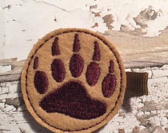 Bear paw feltie clip, hair clip, felt clippie