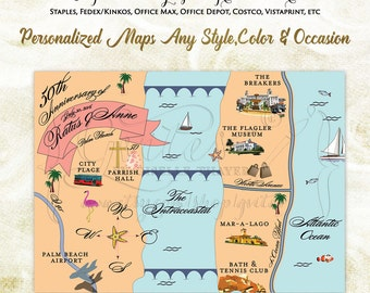 Custom wedding maps, Florida wedding map, palm beach wedding map, wedding custom maps, personalized palm beach maps.