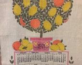 Vintage 1971 Citrus tree linen calendar tea towel