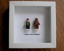 LEGO Star Wars Framed Art - Han Solo & Chewbacca - LEGO Minifigure Display - Wedding Gift - Wall Decor - Picture Frames Displays
