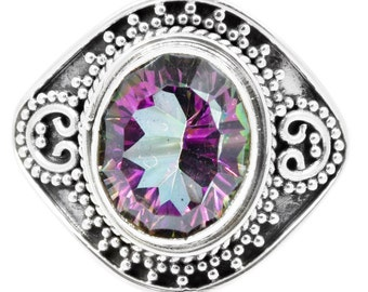 Natural Mystic Quartz Ring Solid 925 Sterling Silver Jewelry Size 8.75 EBR967