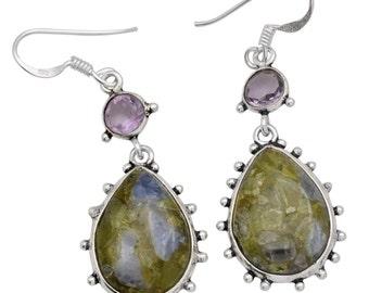Copper Peridot, Tanzanite Earrings Solid 925 Sterling Silver Jewelry IE19823
