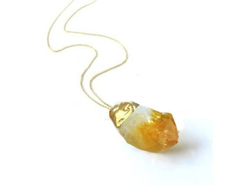 Citrine Necklace, Personalized Gift, Birthstone Necklace, November Birthstone, Gemstone Necklace, Citrine Jewelry, Auntie Gifts