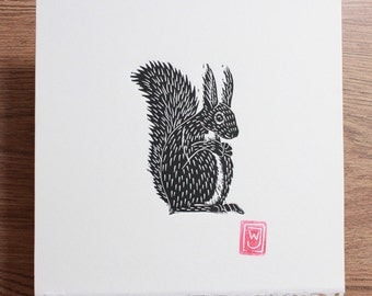 Squirrel Lino Cut / Block Print