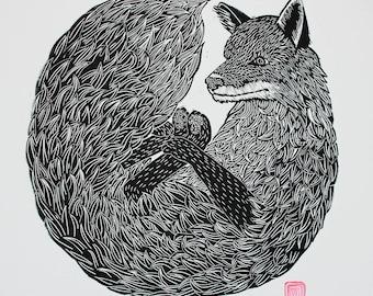 Fox Lino Cut / Block Print