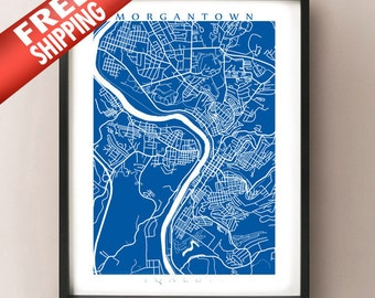 Morgantown Map Print - West Virginia Art Poster