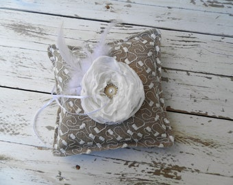 Shabby Chic Burlap Ring Pillow - Bearer Pillow with white lace