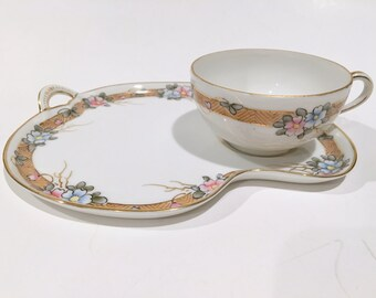 Nippon Snack Tray, Tea and Toast Set, Nippon Tea Cup and Saucer, Japanese Tea Set, Japanese Snack Trays, Hand Painted Nippon, Blue Pink Cup