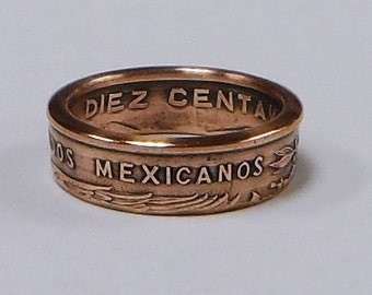 Sealed Handmade made coin ring from Mexican 10 centavos coin sizes 4 -10