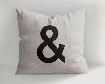 Ampersand - 100% Hand Drawn Linen Pillow -Decorative Pillow - Throw Pillow - Natural Linen - Hand drawn