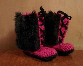 Faux fur/crochet adult slippers