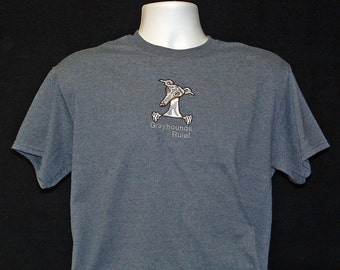 24SS Embroidered Greyhound T shirt - Greyhounds Rule!.  1 of each M,L,X available.