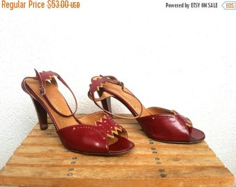 20% Off 70s Oxblood Shoes, 80s Leather Sandals, Peep Toe Heels, Ankle Strap Pumps, Open Toe Stilettos, Burgundy High Heels, US size 7.5, EU
