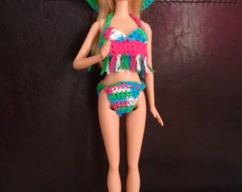 Barbie Doll Swimsuit - crochet swimsuit bikini and Summer Hat