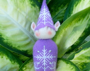 Elf Ornament ~ Decoration ~ Christmas ~ Holiday Stuffed Lavender Felt with White and Silver Snowflakes