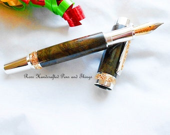 Fountain Pen Handcrafted, Handcrafted Fountain Pen, Hand Turned Wood Fountain Pen