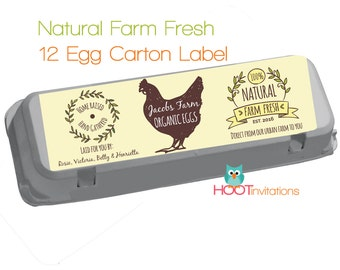 Egg carton label etsy custom egg carton label vintage style fresh eggs label print at home pronofoot35fo Gallery
