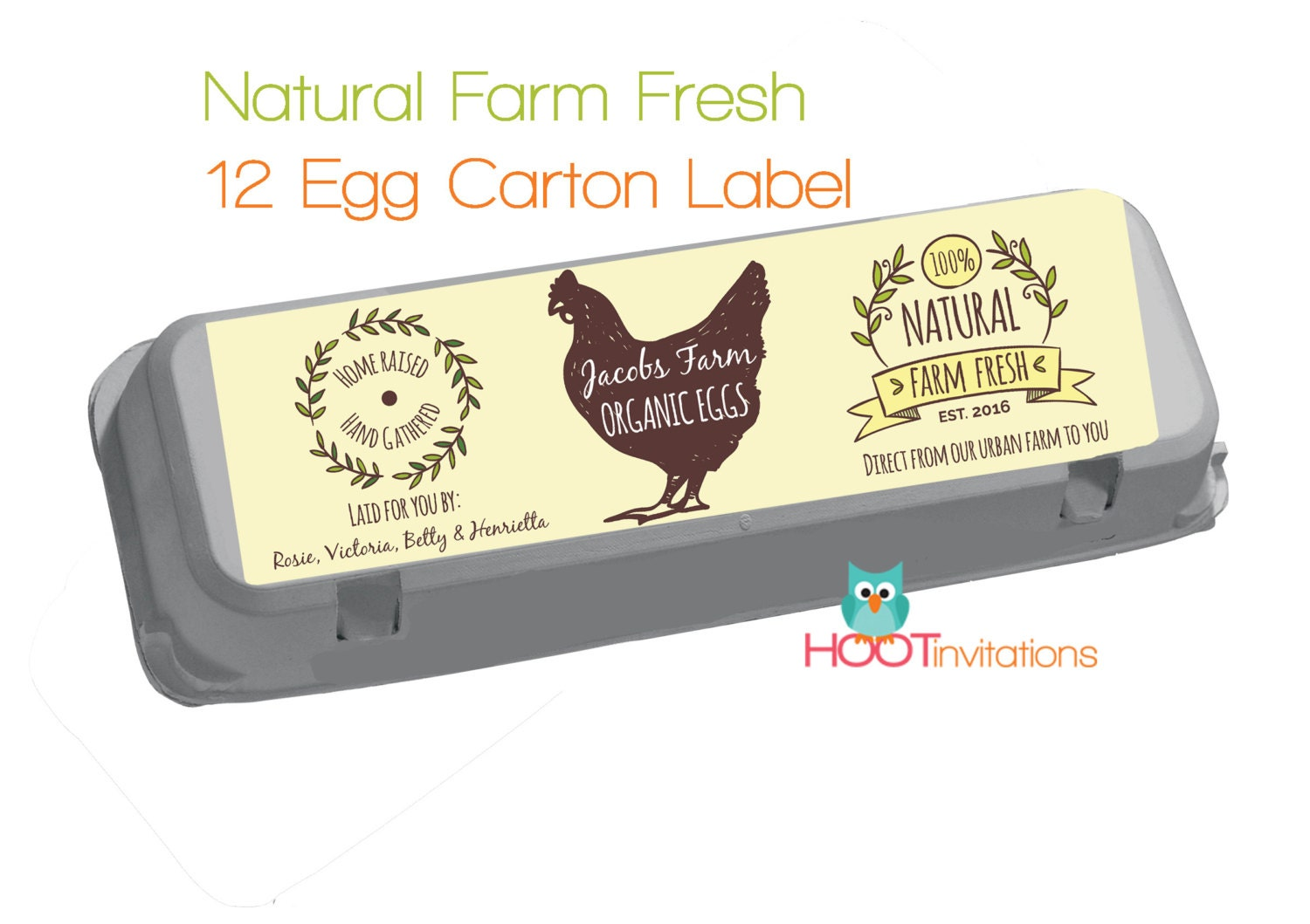 Custom egg carton label vintage style fresh eggs label for Design your own egg boxes