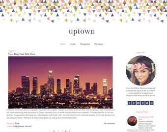 Premade Blogger Template - Mobile Responsive Blogger Template - Geometric Blog Template - Uptown