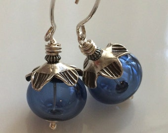 Sapphire Blue Glass Earrings / Hollow Glass Earrings / Lampwork Glass Earrings /  Sterling Silver Earrings