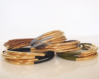 Bracelet - Leather and Gold, Leather and Antique Gold, Modern Leather and Gold Bracelet, Edgy, Popular Bracelet by Nicole Novena