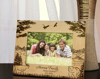 Alaskan Dream Vacation Picture Frame with Your Alaska Vacation Information & Font Selection (Select Size and Frame Orientation)