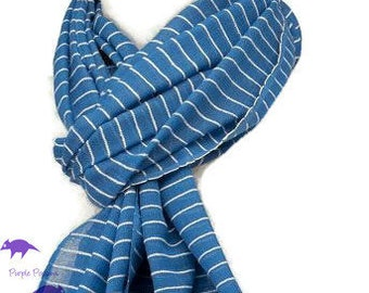 Blue Scarf with a White Stripe, Ladies 100% Pure Cotton Fair Trade Shawl