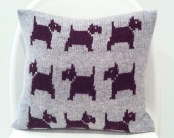 Knitted dog cushion, dog pillow, knitted dog gift, scottie dog cushion, lambswool animal cushion, gift for dog lover, handmade cushion