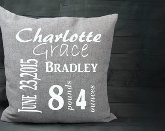 Personalized Baby Pillow,Pillow Cover Birth Announcement,Custom Baby Pillow, 18x18 Square Pillow,Gray,Black,Pink,White,Girl Gift,Boy Gift