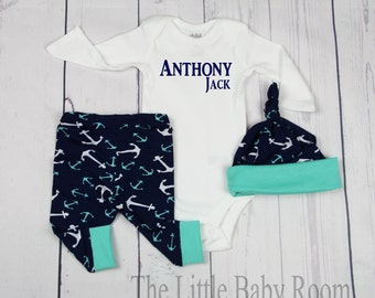 Boys Coming Home Outfit,Personalized Onesie,Baby Leggings,Onesies,Boys Leggings and Hat,Boys Coming Home,Hospital,Anchor,Baby Boy set,Onesie