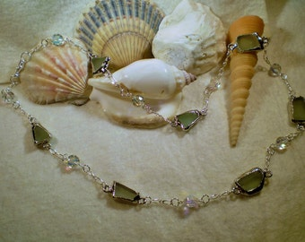 Sea Glass and Crystal Necklace