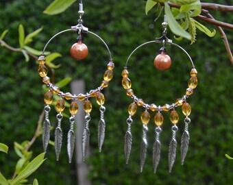 amber/ gold native american inspired earrings