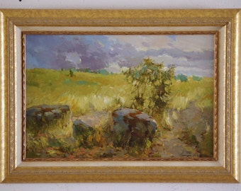 Landscape, Original Oil Painting, Framed Ready to Hang Signed Handmade painting  One of a Kind