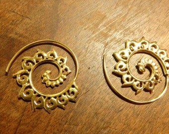 Brass Earrings Spiral Pair