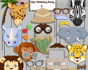 Editable Safari Party Photo Booth Props, Jungle Birthday Party, Safari Animals, African Animals
