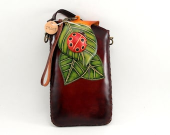 Leather Lady Bug Cross Body Cell Phone Purse